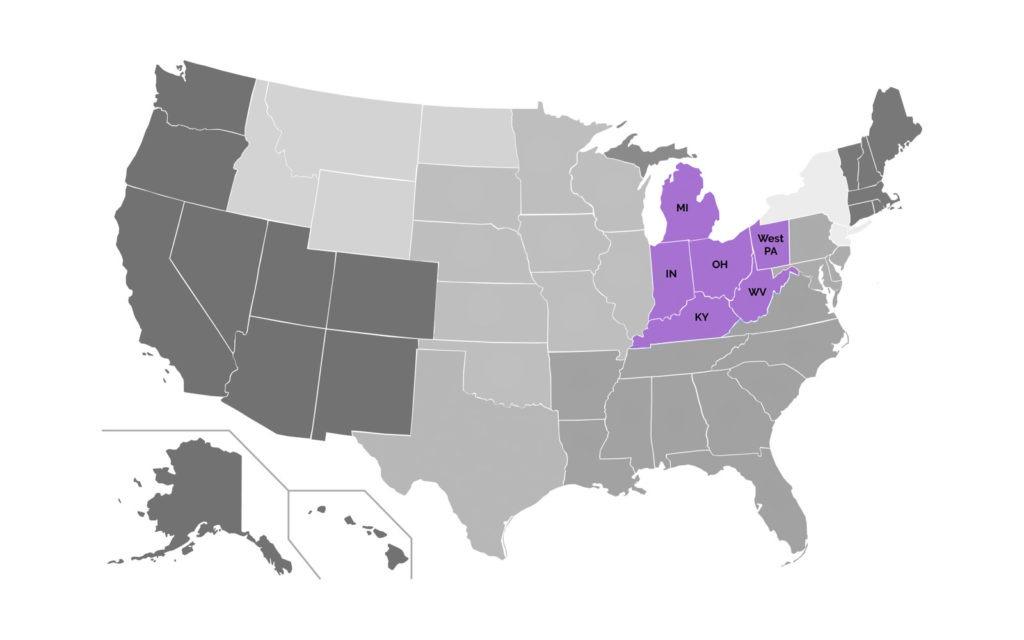 Mid-American Region Map