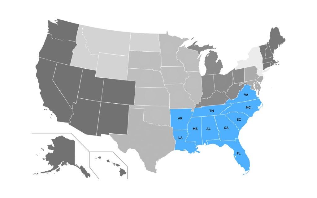 Southeast Region Map